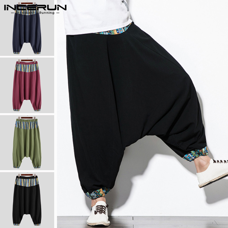 INCERUN Men Printed Harem Pants Cotton Ethnic Style Joggers Streetwear Loose Wide Leg Trousers Elastic Waist Loose Pants S-5XL
