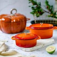 French oval cast iron enamel pot Mini Pot 15cm17cm stew pot for children Kitchen cooker