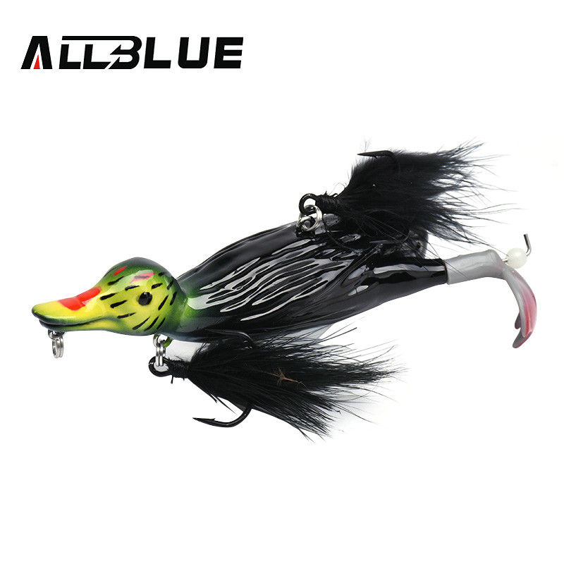 ALLBLUE 3D STUPID DUCK Topwater Floating Fishing Lure Popper Artificial Bait Plopping and Splashing Feet Hard Pike Tackle|Fishing Lures| |  - title=