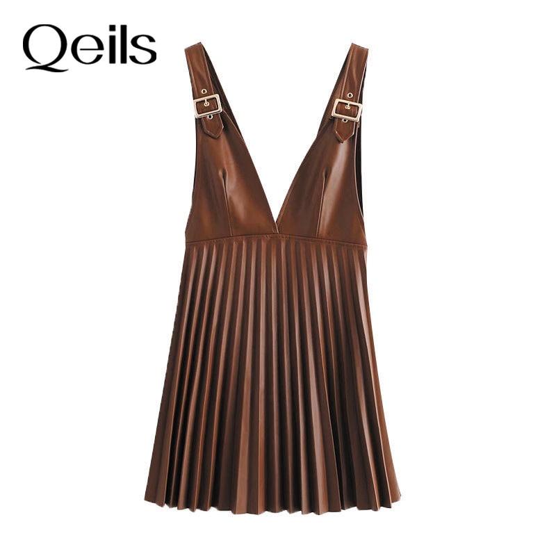 Qeils mulheres chique moda falso couro plissado pinafore saia casual vintage v pescoço largas alças ajustáveis saias femininas mujer