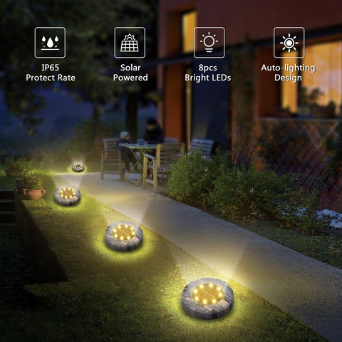 4 pcs movido a energia solar luzes
