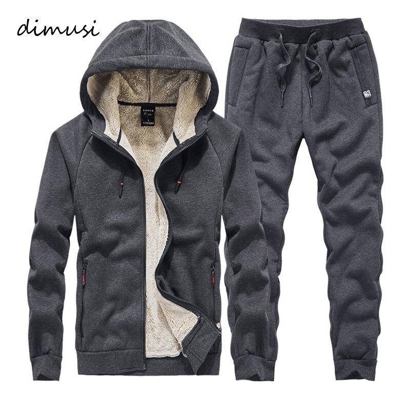 DIMUSI Men Sweat Sets Winter Fleece Warm Sporting Suit Sweatshirt +Sweatpants Mens Clothing 2 Pieces Sets Slim Tracksuit Hoodies