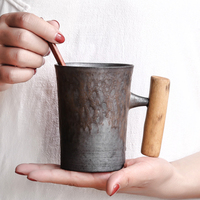 Creative Handmade Wooden Handle Coffee Cup with Dish Spoon Ceramic Tea Cup Simple Retro Japanese Style Office Water Mug