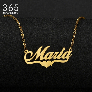 Stainless Steel Customized Name Necklace Letter Heart Personalized Nameplate Necklaces For Women Girl Birthday Jewelry Gift
