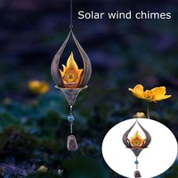 Lámpara colgante de llama Led Solar para exteriores, campanillas de viento de Metal, lámpara de noche para paisaje, Patio, jardines, puertas, ventanas, decoración de jardín