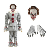 Movie Pennywise Adult Children Clown Joker Cosplay Suit Halloween Costume Party Gloves Mask Stephen King's It Men Female Prop(China)