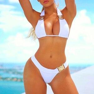 Image 2 - In x Sexy blanc strass bikini 2020 Push up maillot de bain femme Triangle maillots de bain femmes string bikini ensemble été maillot de bain nouveau