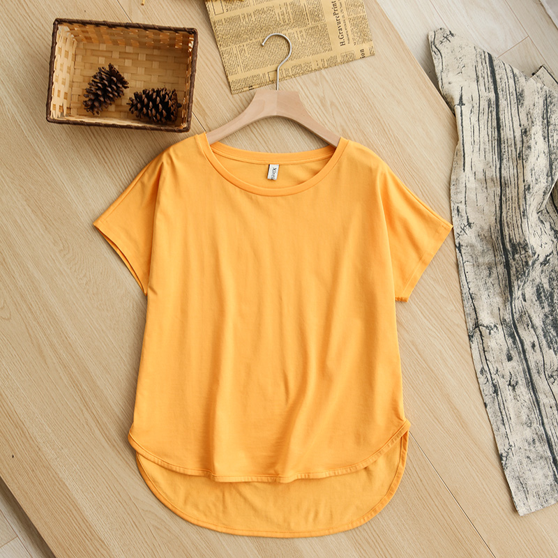 H876e2f876afa486e817d1d6621295adcK - 100% cotton Loose Casual Summer Short Sleeve Female T shirt Women asymmetric O-neck Tee Tops M30326