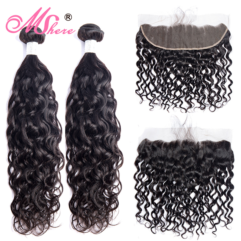 Mshere Hair Peruvian Water Wave Hair With Lace Frontal 100% Human Hair With Ear To Ear Lace Closure Remy Hair With 13X4 Inch