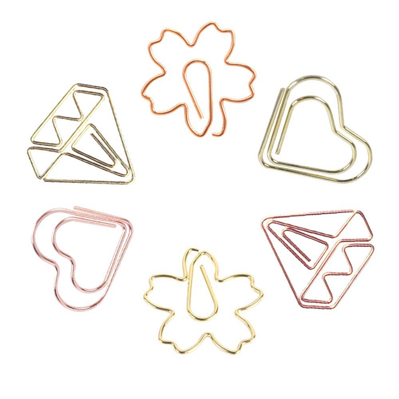 30PCS Paper Clips, Cute Metal Paper Clips, Gold Paperclips Heart Cherry Diamond Shaped Document Clips For Office Supplies, Schoo