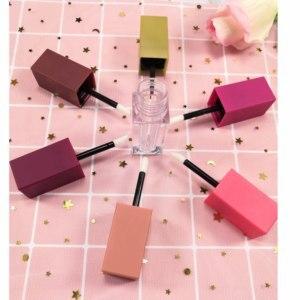 Image 3 - 10/30/50pcs Square Empty Lip Gloss Tube,Pink Clear/Matte Lip Gloss Refillable Bottles,Plastic Liquid Lipstick Container