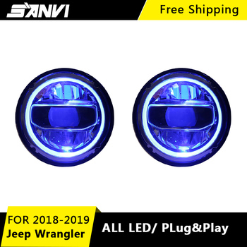 Sanvi 2pcs LED Headlight Assembly for Jeep Wrangler JL 2018 2019 With LED DRL Amber  LED Turn Light