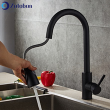 Kitchen-Faucets Taps Swivel Pull-Out Hot-Mixer Single-Hole-Handle Black Cold ZOTOBON