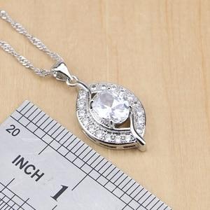 Image 2 - Natürliche 925 Sterling Silber Braut Schmuck Weiß Zirkon Schmuck Sets Für Frauen Hochzeit Ohrringe Anhänger Halskette Ringe Armband