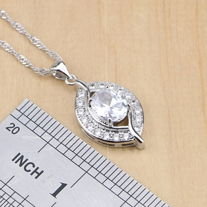 Image 2 - Natural 925 Sterling Silver Bridal Jewelry White Zircon Jewelry Sets For Women Wedding Earrings Pendant Necklace Rings Bracelet