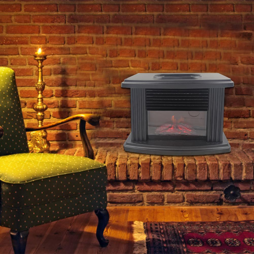Mini Electric Fireplace Stove Heater Portable Tabletop Indoor Space Heater 1000W Indoor Winter Heater