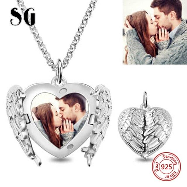 Spersonalizowane 925 srebro serce grawerowane pióro naszyjnik pamiątkowy biżuteria prezent Keepsake dla kochanka