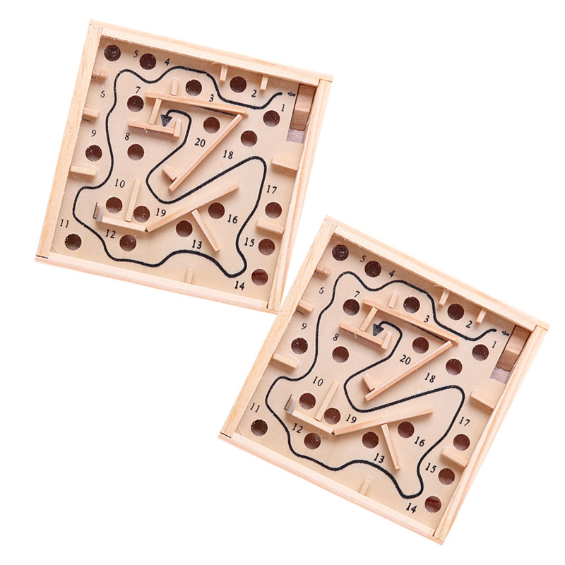 Kids 3D Puzzle Wooden Labyrinth Board Toys Ball Maze Games Handcrafted Toy Child Intellectual Development Educational Puzzles