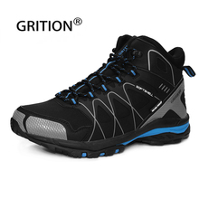 GRITION Men Waterproof Trekking Boots Lace up Mountain Climbing Work Shoes Non-slip Outdoor Winter Keep Warm Big Size 2020 New