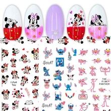 1PCS Disney Cartoon Anime Mickey Mouse Princess Cartoon Nail Sticker Snow White Donald Duck Nail Decoration Repair Decal