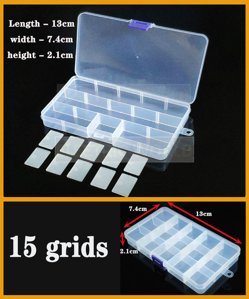Small 15 Grids Container Plastic Box Organizer Practical Adjustable Compartment Jewelry Earring Screw Holder Case Strage Box
