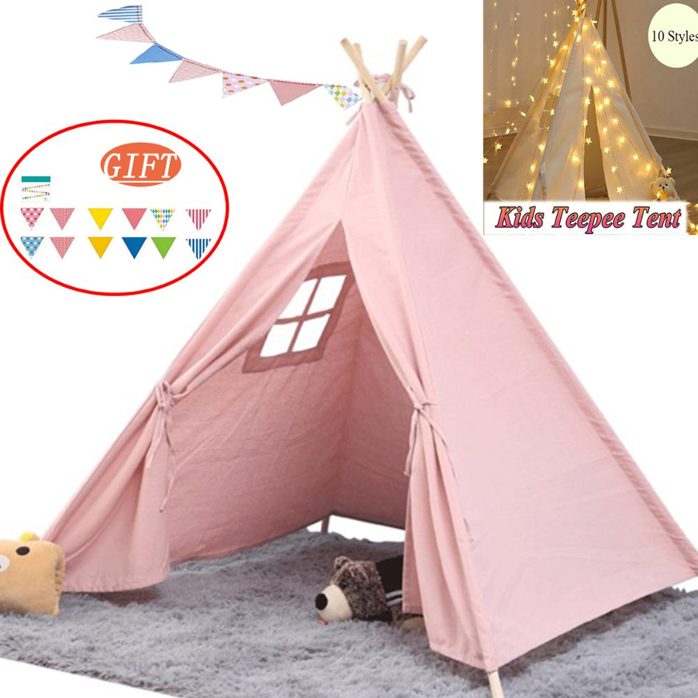 Children's Tent Foldable Tent For Kids 1.35m Portable Indian Kids Teepee Cabana Infantil Play House Pet Tent Room Decoration
