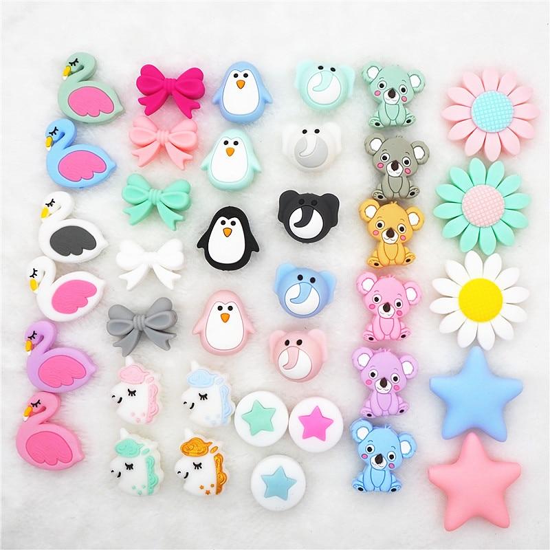 Chenkai 10pcs Silicone Teether Beads DIY Unicorn Star Penguin Flower Koala Flamingo Baby Teething Sensory Jewelry Cartoon Beads