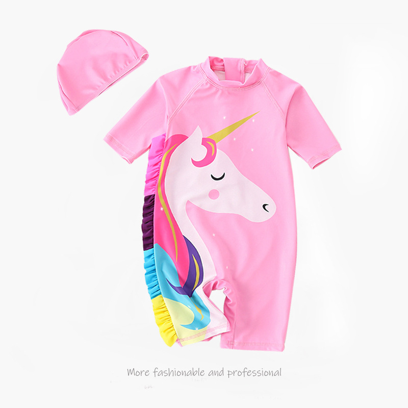 2019 Currently Available New Style Children One-piece Quick-Dry Bathing Suit Little Horses Unicorn Printed Pattern Split Type Su