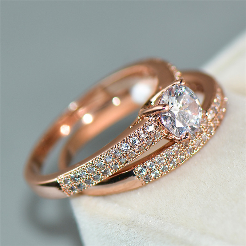 Cute Female White Bridal Ring Set Fashion 18kt Rose Gold Wedding Band Jewelry Promise Love Round Engagement Rings For Women Leather Bag