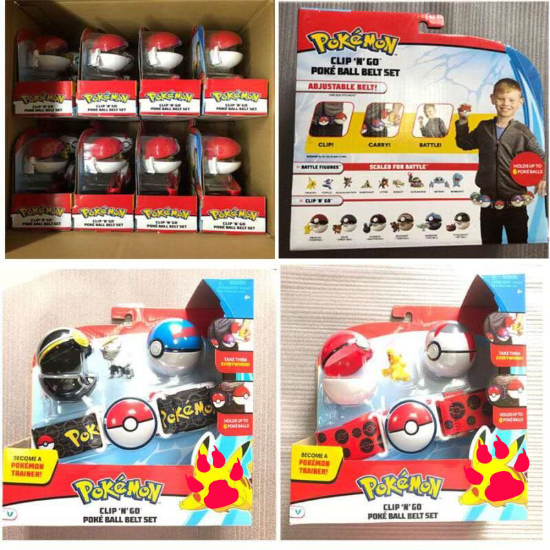 Pokemones Ball figure With Belt and Pop-up Action Figure Model Toys Retractable Belt Gifts Kids Toys in box 6