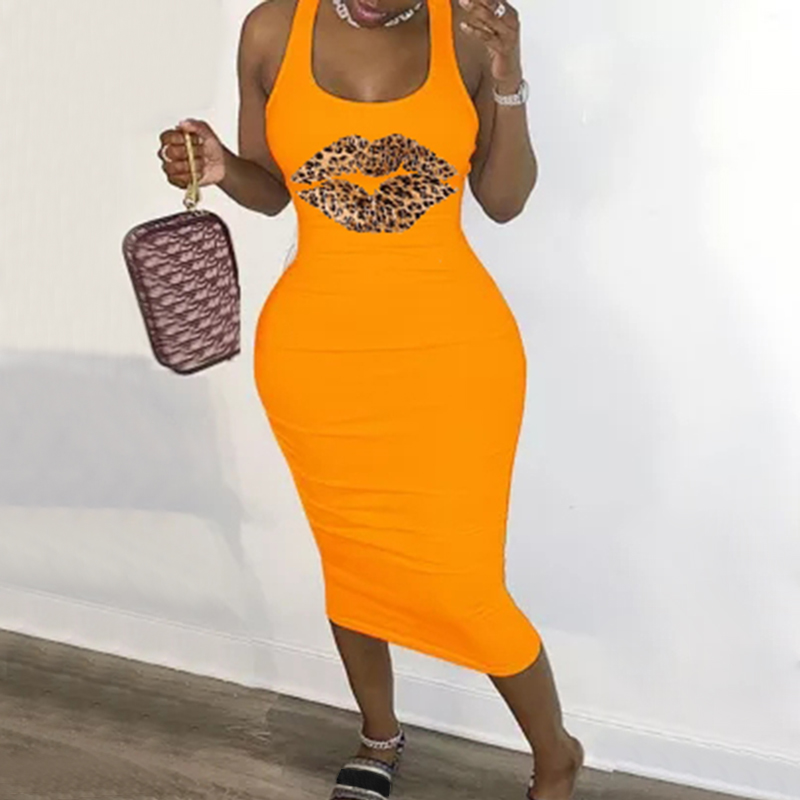 New Summer Fashion Leopard Lips Sleeveless S 5XL Plus Size Dress Sexy Casual Basic Midi Dress Club Bodycon Tight Dresses Women