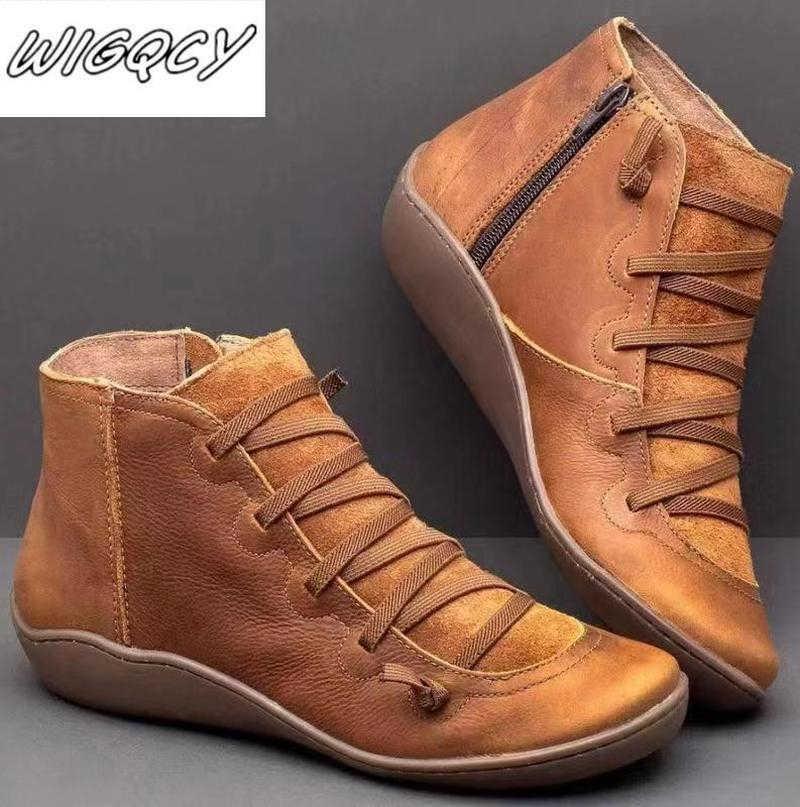 Frauen PU Leder Stiefeletten Frauen Herbst Winter Kreuz Riemchen Vintage Frauen Punk Stiefel Flache Damen Schuhe Frau Botas mujer