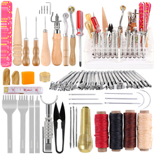 Nonvor 20Pcs Professional Leather Craft Tools Hand Stamping Instructions Punch Sewing Needles for Leather Carving Stitching DIY