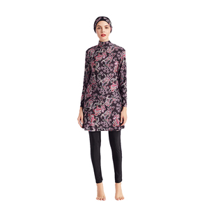 Image 4 - HAOFAN Women Printing Floral Muslim Swimwear Hijab Muslimah Islamic Swimsuit Swim Surf Wear Sport Burkinis