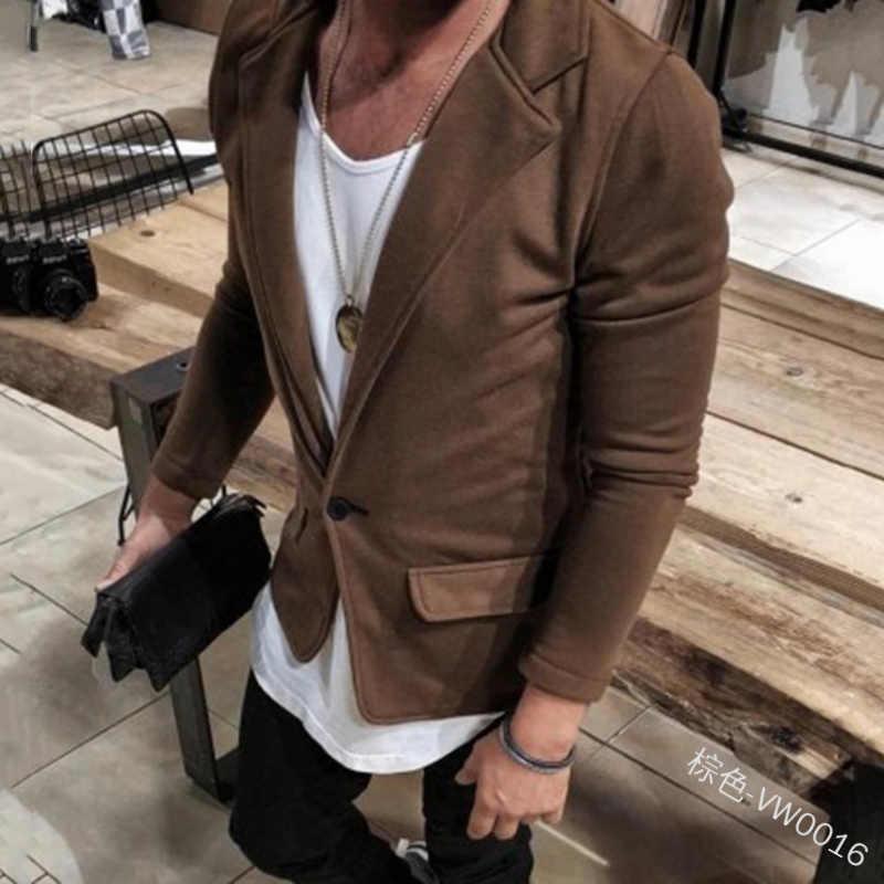 MoneRffi ファッション男性ブレザースリム英国スタイルのコートスーツのジャケットの男性長袖正式なブランドブレザー 2019