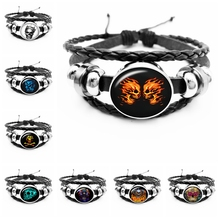 2019 New Halloween Death Skull Pattern Series Glass Cabochon Leather Bracelet Mens Fashion Domineering Jewelry Gift