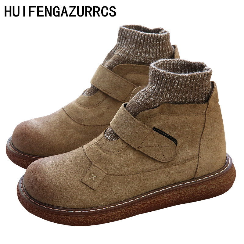 HUIFENGAZURRCS-Literatura e Arte Retro Fazer Velho De Lã Boneca de Cabeça Redonda de Fundo Grosso Sapatos Casuais Confortáveis Sapatos no Inverno