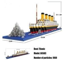 LOZ 1860 Pcs Titanic CruiseเรือเรือDIY Lepining Building Blocksอิฐชุดของเล่นเด็ก
