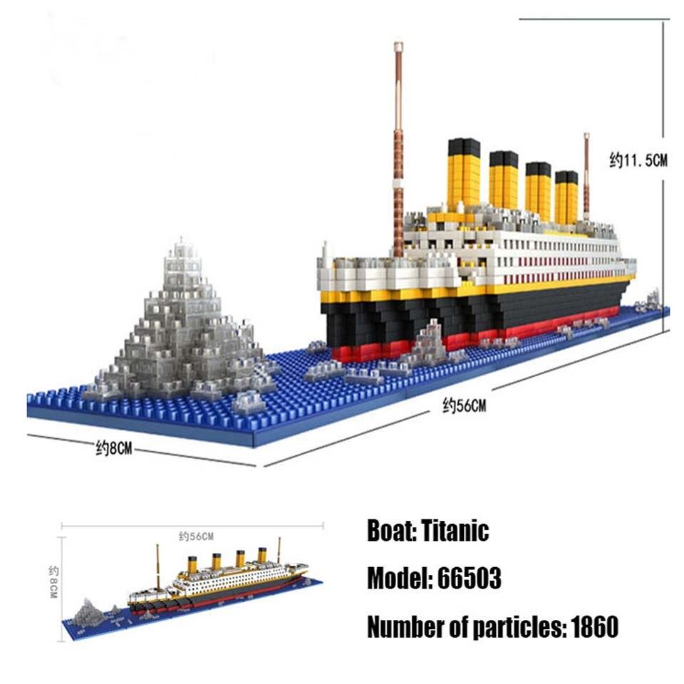 LOZ 1860 pcs titanic barco modelo do navio de cruzeiro legoinglys Diamante DIY Kit de Blocos de Construção Tijolos brinquedos para crianças