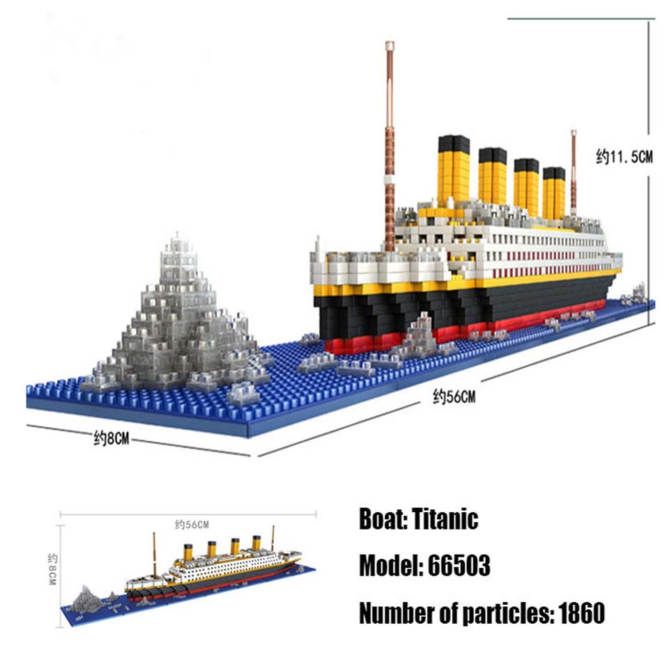 LOZ 1860 Pcs Titanic Cruise Ship Model Boat DIY Diamond Legoinglys Building Blocks Bricks Kit Children Toys