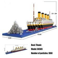 Loz 1860 pçs titanic navio de cruzeiro modelo barco diy diamante lepining blocos de construção tijolos kit crianças brinquedos