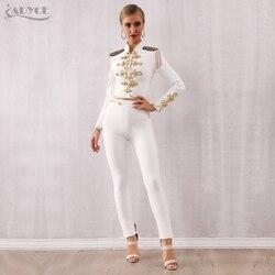 Adyce 2019 nuevo conjunto de vendaje de Club de invierno para mujeres negro y blanco Tassel tapas y pantalón 2 dos piezas conjunto de noche de fiesta de celebridad de noche