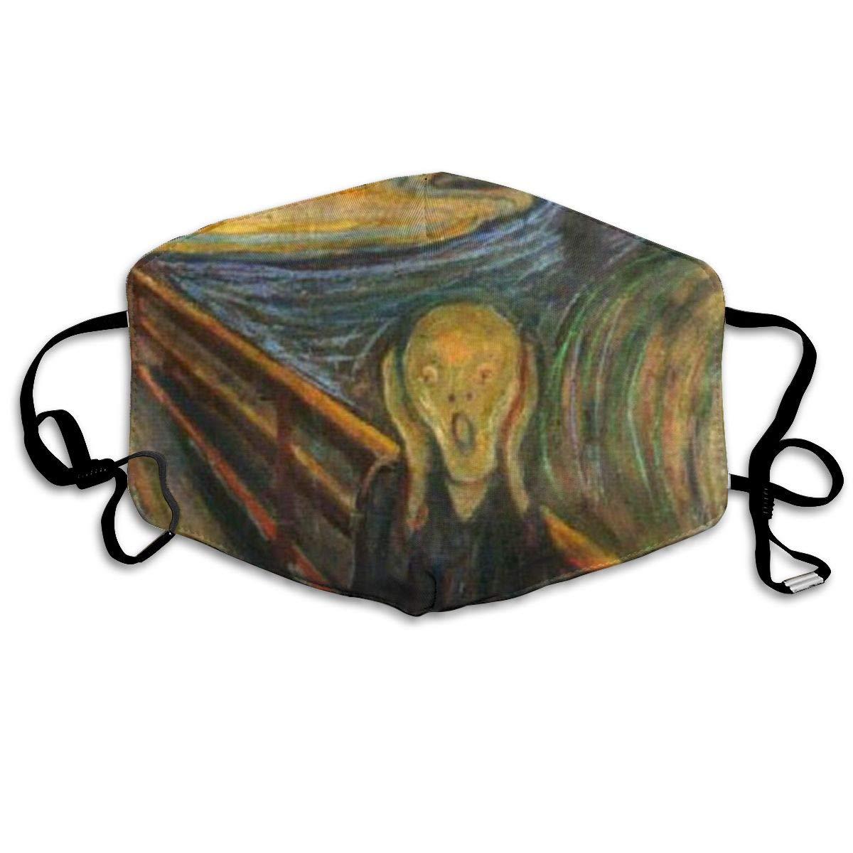 Máscara de boca The Scream de Edvard Munch Masks-transpirable ajustable a prueba de viento boca-Muffle, Camping Running para mujeres y 20 piezas PM2.5 de algodón unisex, mascarilla facial Anti-humo transpirable y lavable con mufla bucal para ciclismo