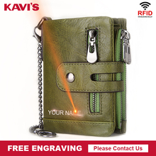 KAVIS Rfid Genuine Cow Leather Wallet Men Coin Purse Male Cu
