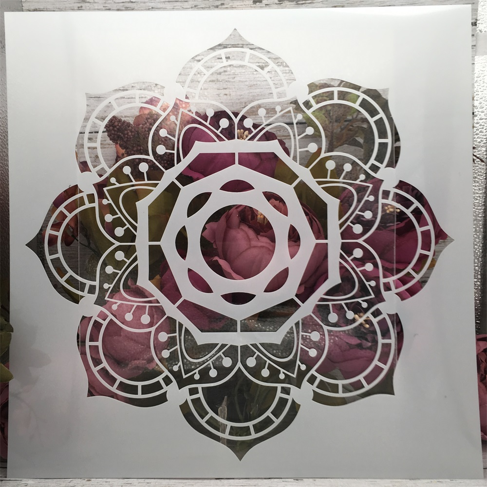 30*30cm Flower Mandala Design A DIY Layering Stencils Painting Scrapbook Coloring Embossing Album Decorative Template