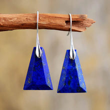 Boucles d'oreilles Lapis Lazuli pour femmes, Unique, trapèze, mode, pierre, haute qualité, bijoux élégants et audacieux, cadeaux