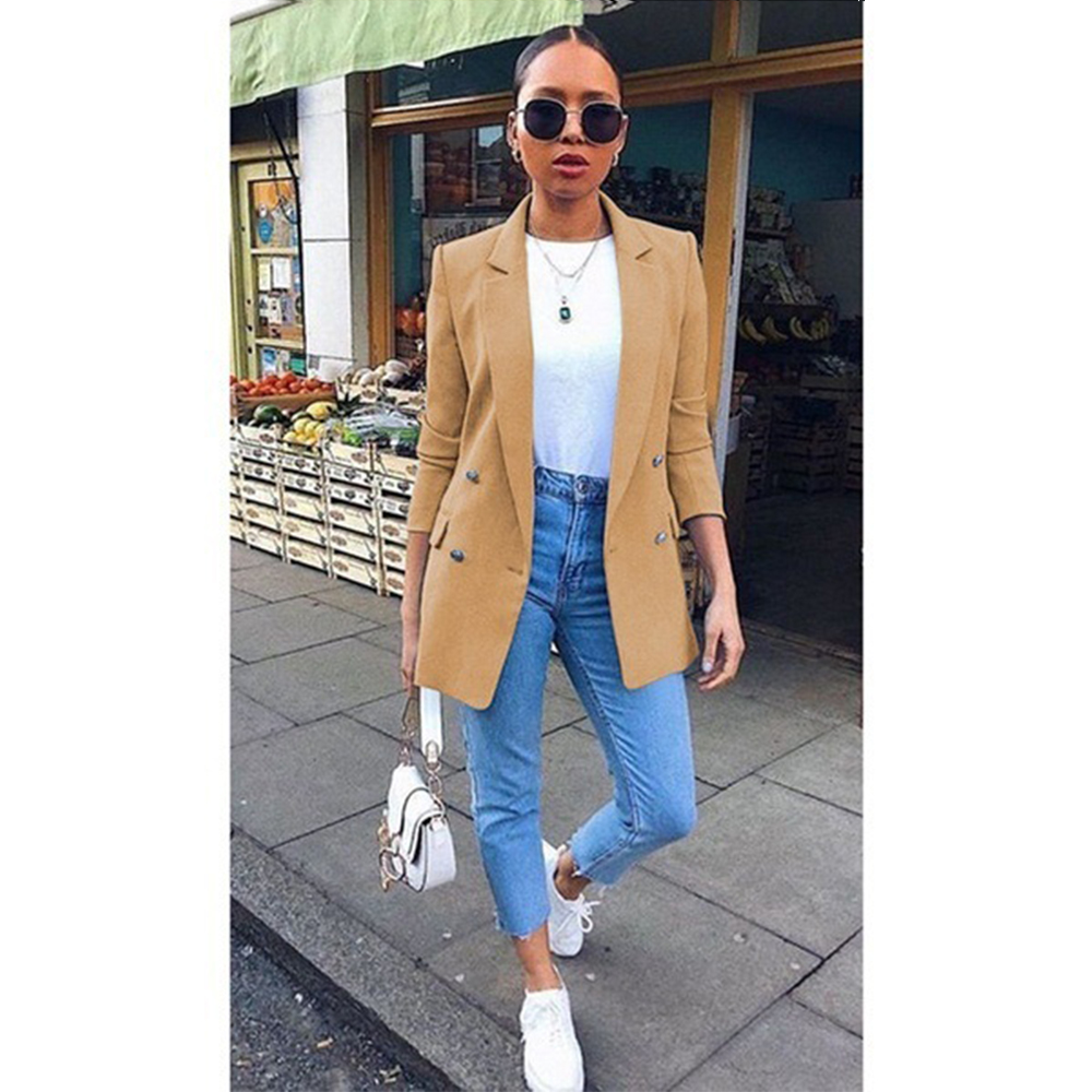 Plus Size S-5XL Women Chic Blazer Buttons Design Autumn Fashion Office Lady Slim Solid Color Long Sleeve Suit Coat Outerwear Top