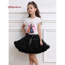 Детская короткая юбка пачка, Тюлевое нижнее белье для девочек, в стиле рокабилли, кринолин, рокабилли, черная, белая