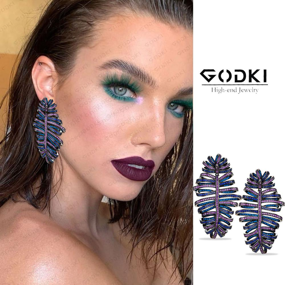 GODKI MAXI Feather Statement Earrings for Women Wedding Famous Design 2020 Charms Cubic Zircon Wedding Party Accessories