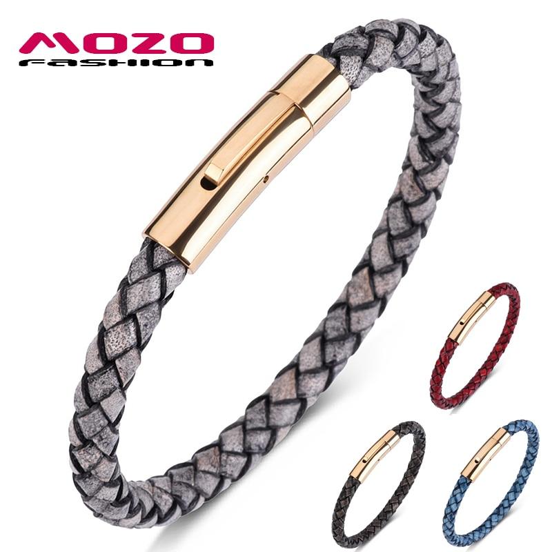 MOZO FASHION HOT Man Charm Bracelets Gray Genuine Leather Rope Mixed Braided Bracelet Simple Punk Woman Classic Jewelry 602